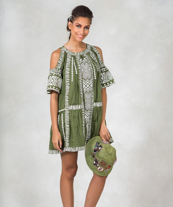 Highly Preppy Vestido Bordado Tribal