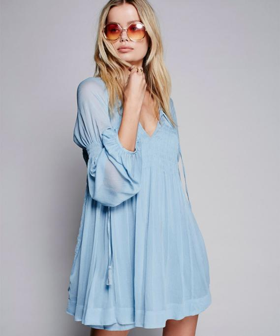 Free People Lini Smocked Mini Dress