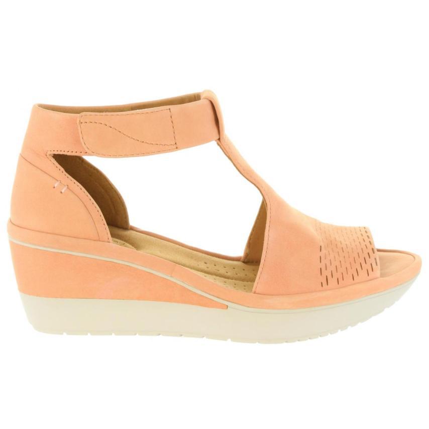 Sandales compensées pour femmes Clarks- Wynnmere Peach Nubuck