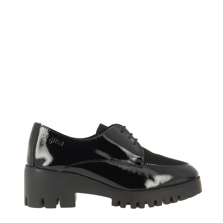 chaussures à lacets pour femmes Charol+nobuck noir horas