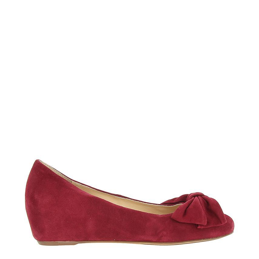 Zapato de cuña para femmes Suede burdeos Hogl