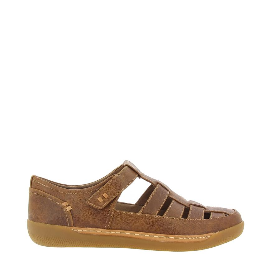 Sandalia plana de femmes Leather dark Tan Clarks