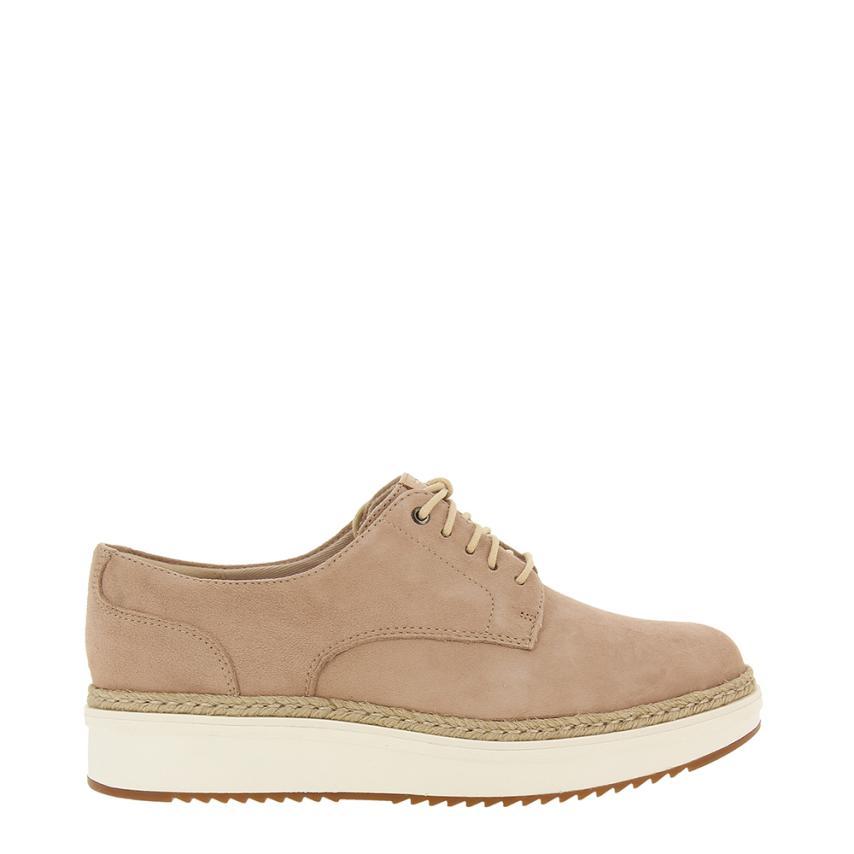 Chaussures à semelle compensée pour femmes Suede beig Clarks