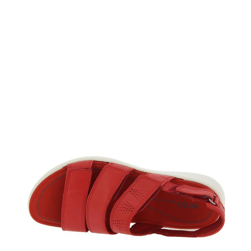 Sandalia plana plana plana de mujer Leather#rojo Ecco 194806