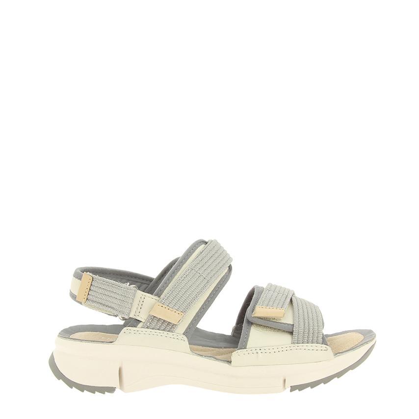 Sandalia plana de femmes Combi blanc Clarks