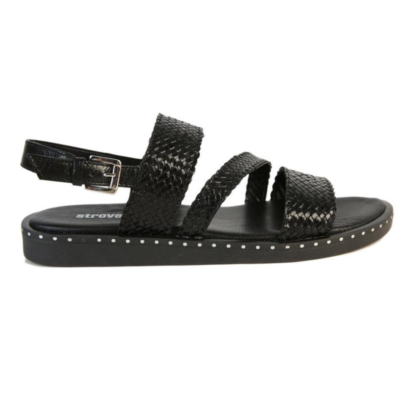 Sandalia plana de femmes Trenzado noir strover